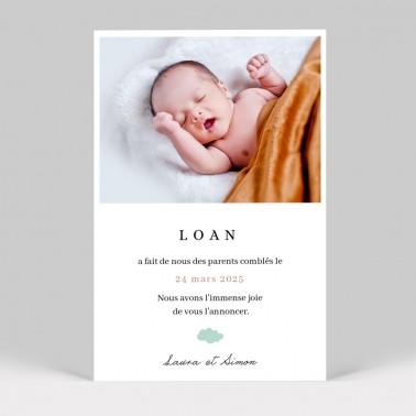 Faire-part naissance Montgolfière avec photo