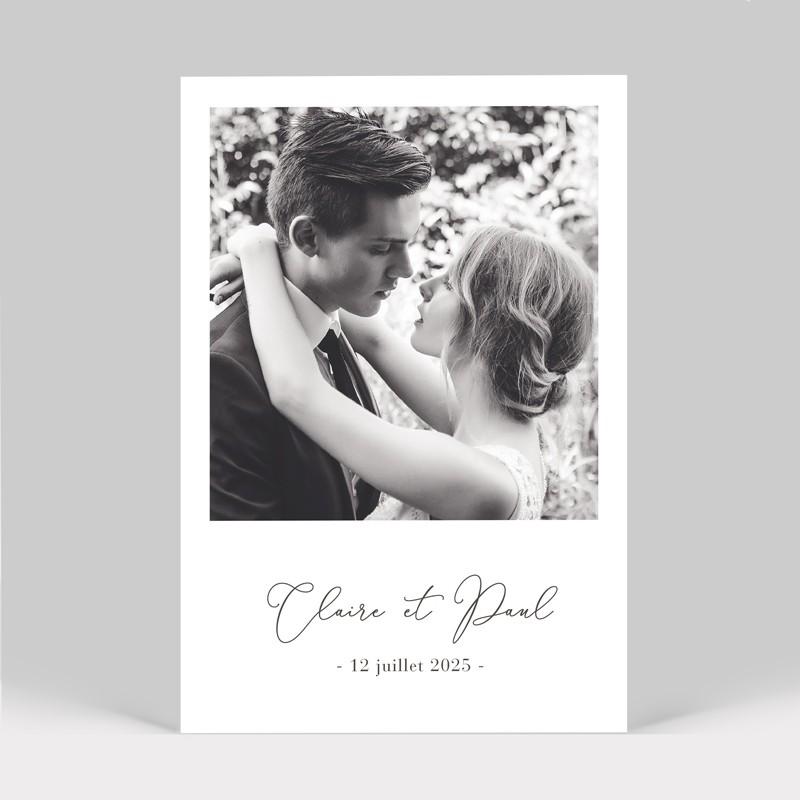 Carte remerciement mariage pivoine avec photo