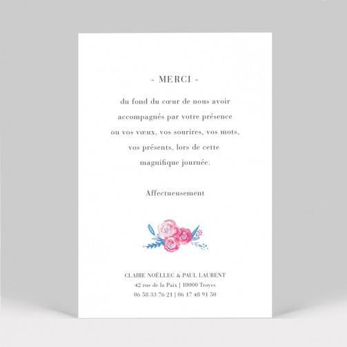 Carte remerciement mariage pivoine