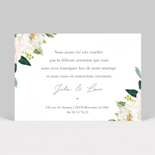 Carte remerciement mariage rosier, roses sauvages photo