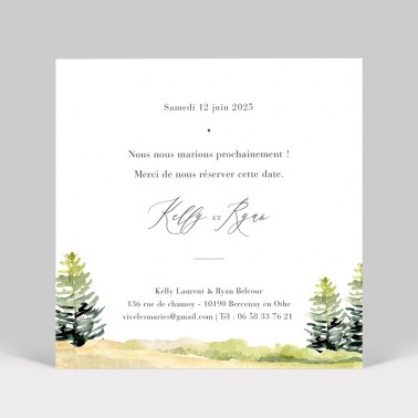 Save the date Forêt aquarelle