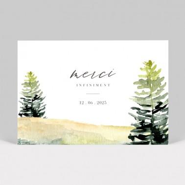 Carte remerciement mariage Forêt