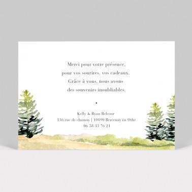 Carte remerciement mariage Forêt aquarelle