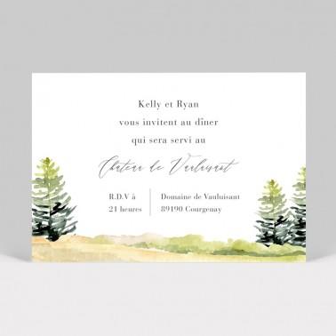 Carte d'invitation de mariage Forêt aquarelle