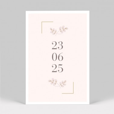 Save the date mariage Rose poudré