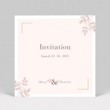 Carte invitation mariage Rose poudré