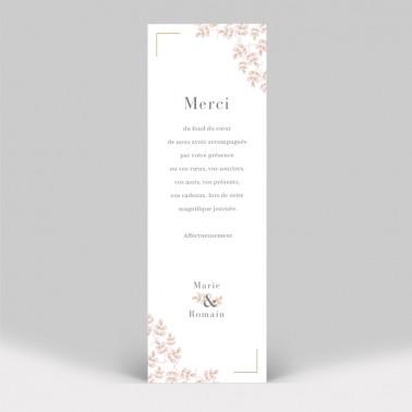 Carte remerciement mariage Rose poudré