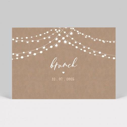 Carte d'invitation de mariage Guirlande lumineuse