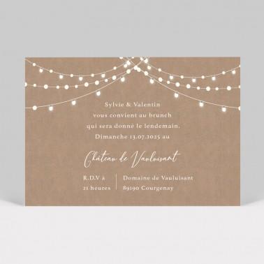 Carte d'invitation mariage Guirlande lumineuse kraft