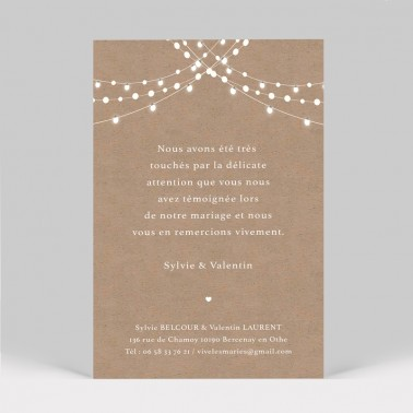 Carte remerciement mariage Guirlande kraft
