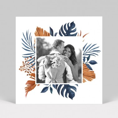 Carte remerciement mariage tropical photo