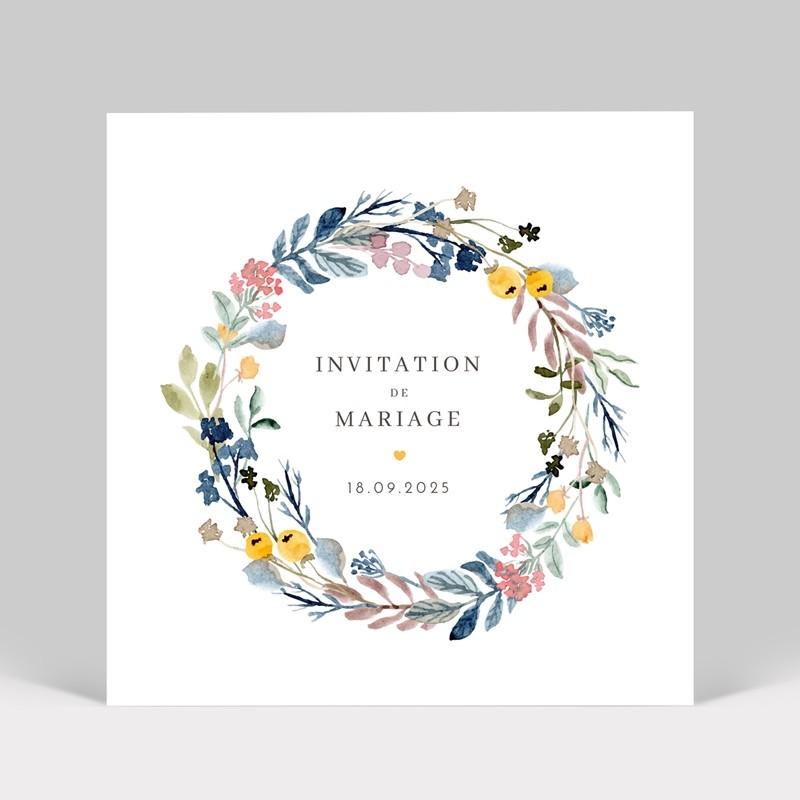 Carte d'invitation de mariage couronne de fleurs