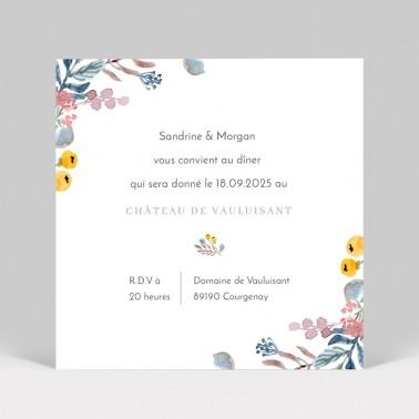 Carte d'invitation de mariage couronne de fleurs 2 pages