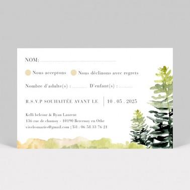 Carton réponse mariage Forêt aquarelle