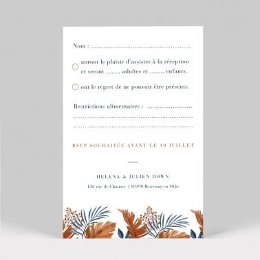 Carton réponse mariage tropical 2 pages