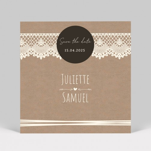 Save the date mariage kraft dentelle