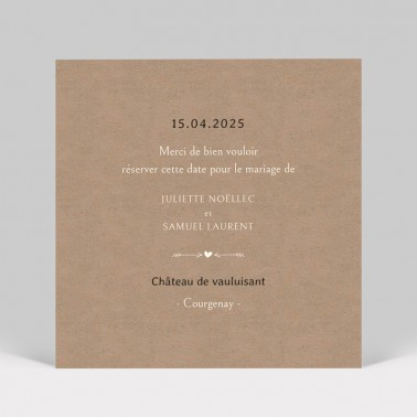 Save the date mariage dentelle kraft 2 pages