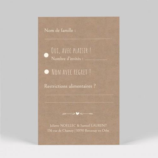 Carton réponse mariage kraft dentelle 2 pages