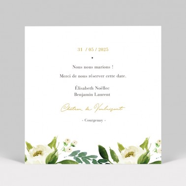 Save the date Pivoines blanches 2 pages