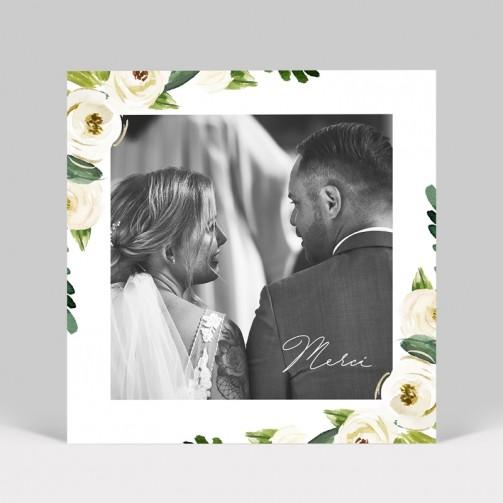 Carte remerciement de mariage Pivoines blanches avec photo