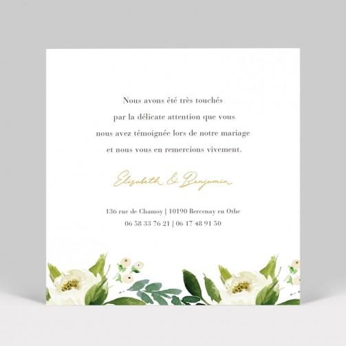 Carte remerciement de mariage Pivoines blanches