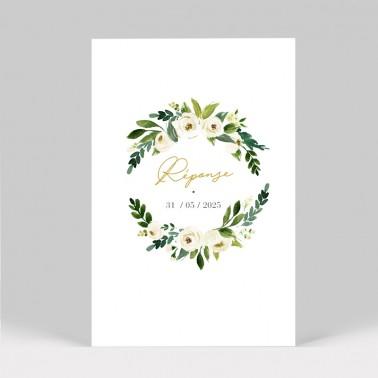 Carton réponse mariage Pivoines blanches