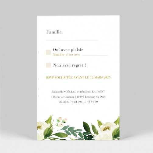 RSVP mariage Pivoines blanches 2 pages
