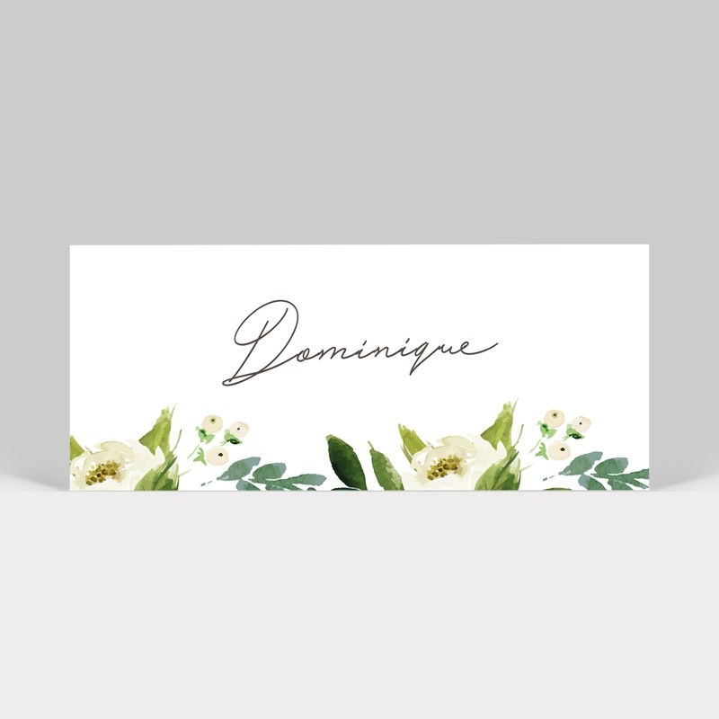 Marque-place mariage Pivoines blanches