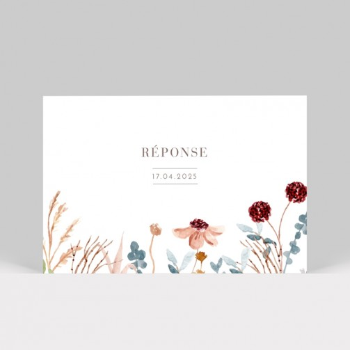 Carton réponse mariage Fleurs des champs