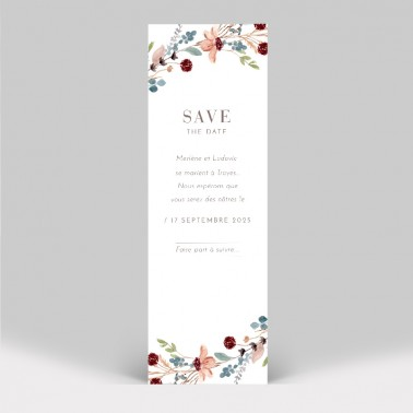 Save the date marque page fleurs des champs avec photo