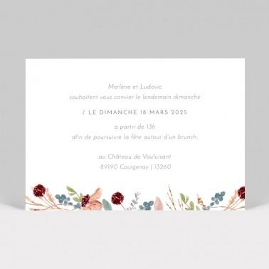 Carton d'invitation mariage Fleurs des Champs 2 pages