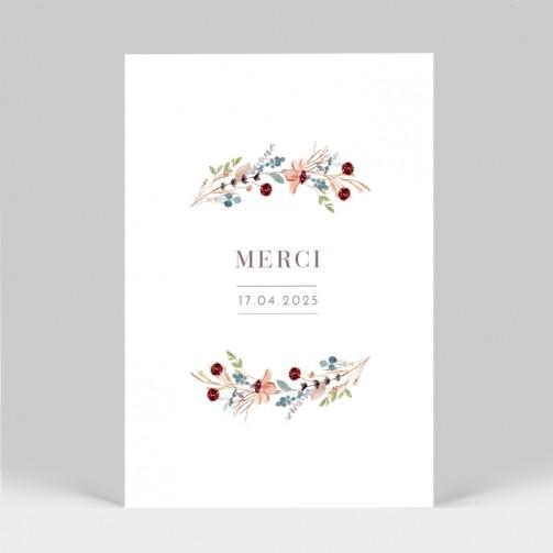 Carte remerciement de mariage fleurs des champs
