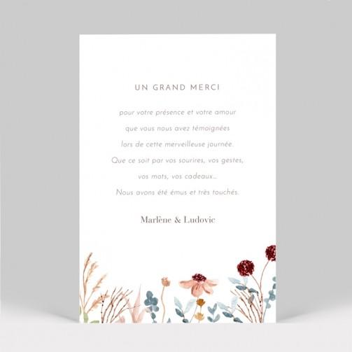 Carte remerciement de mariage fleurs des champs 2 pages