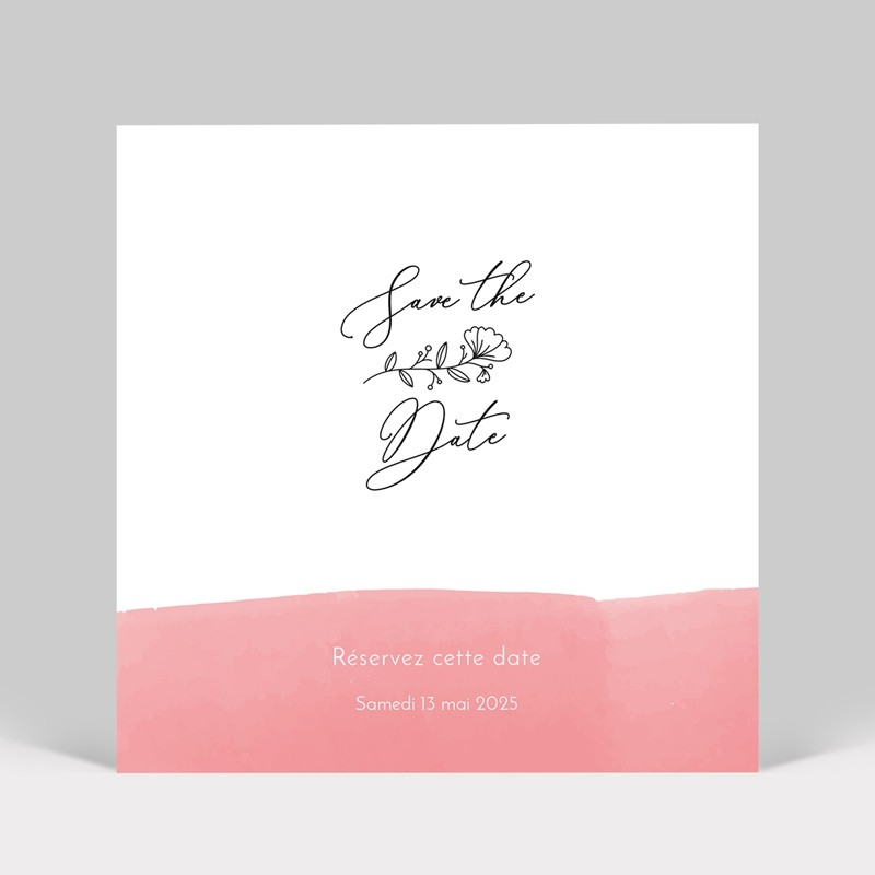 Save the date mariage aquarelle rose