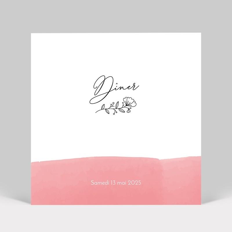 Carton d'invitation mariage aquarelle Rose
