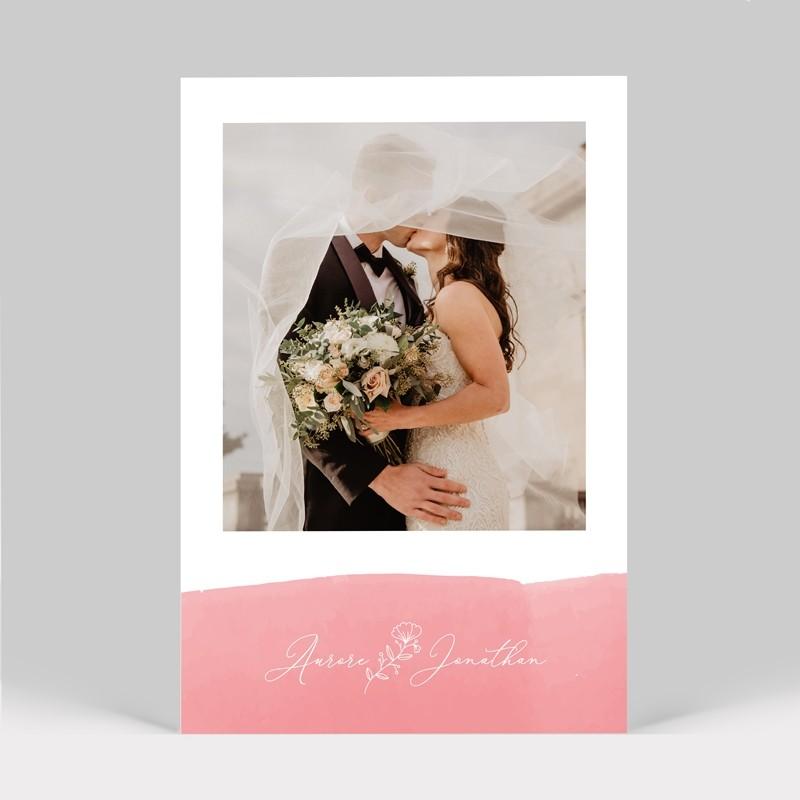 Carte remerciement mariage Aquarelle Rose avec photo