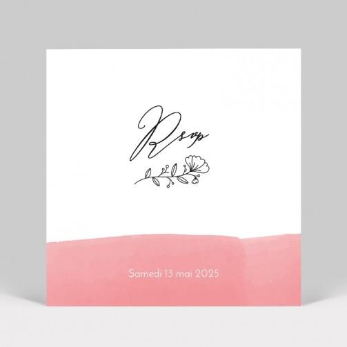 Carton réponse mariage Aquarelle Rose