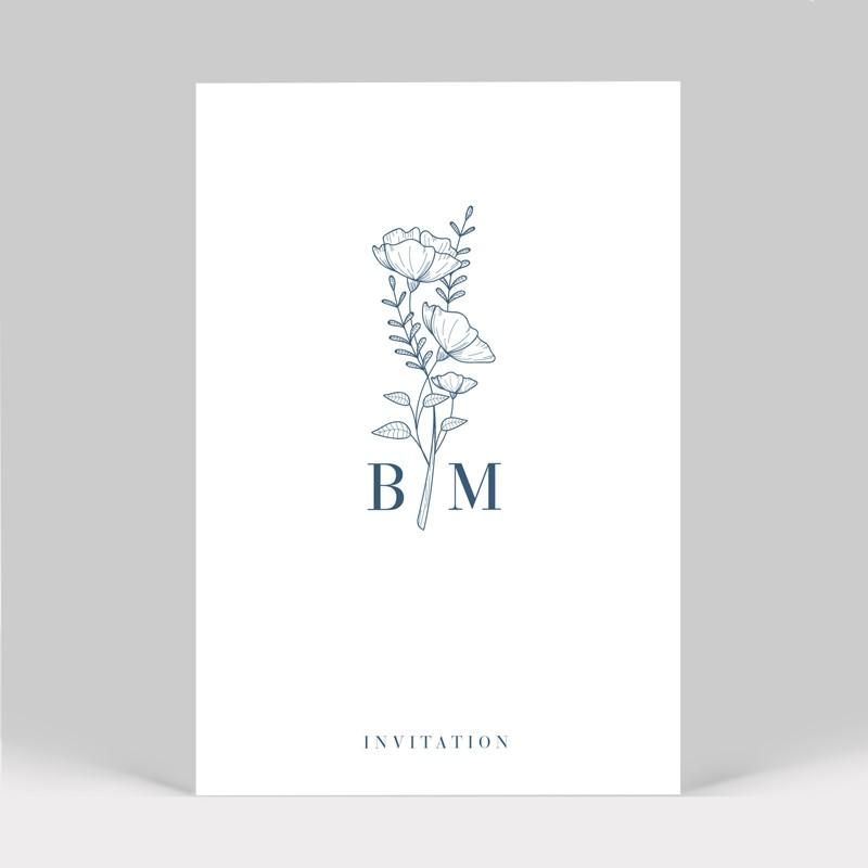 Carte d'invitation mariage Initiales