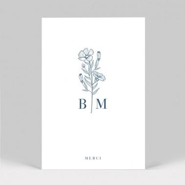 Carte remerciement mariage Initiales