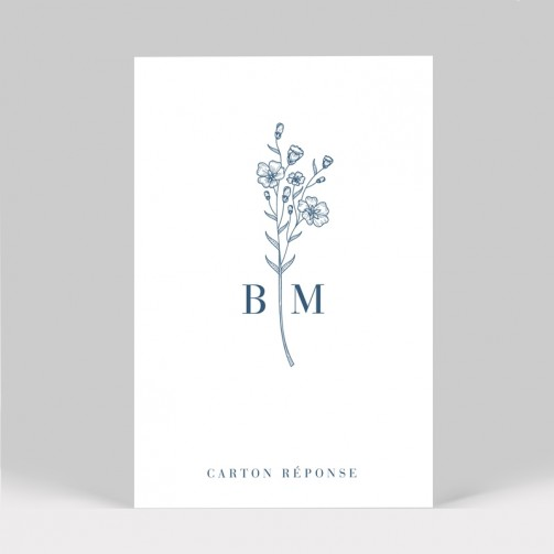 Carton réponse mariage Initiales