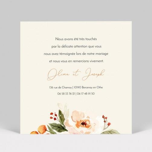 Carte remerciement mariage Fleurs Aquarelle