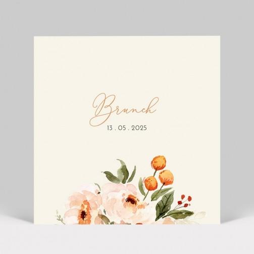 Carte d'invitation de mariage fleurs aquarelle