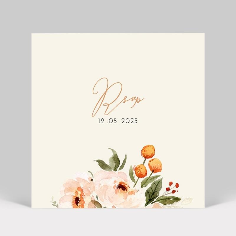 Carton réponse mariage Fleurs aquarelle