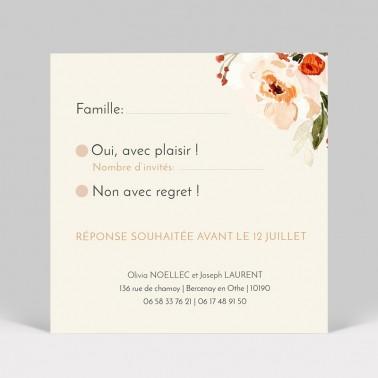 RSVP mariage Fleurs aquarelle