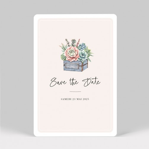 Save the date mariage cactus