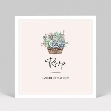 Carton réponse mariage Cactus
