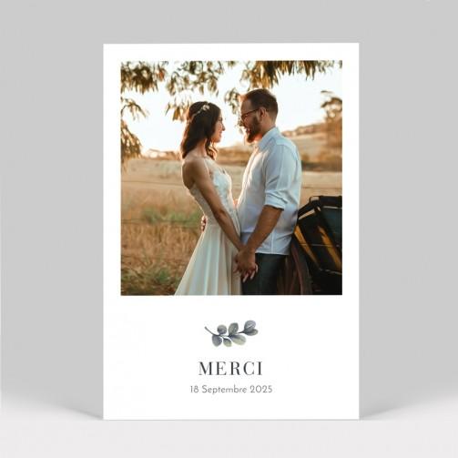 Carte remerciement mariage eucalyptus avec photo