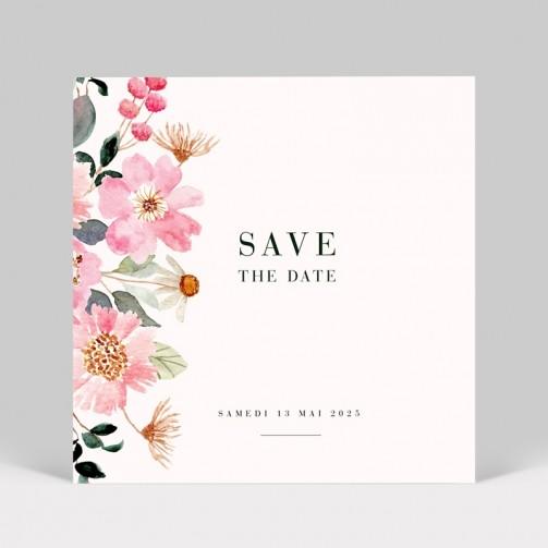 Save the date mariage fleuri