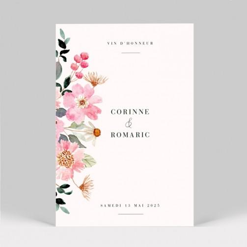 Carte d'invitation mariage Fleuri