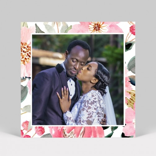 Carte remerciement de mariage Fleuri avec photo